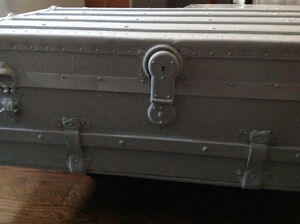 Large Painted Antique Trunk Table with Casters