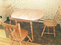 Real Wood Dining Table with 3 chairs