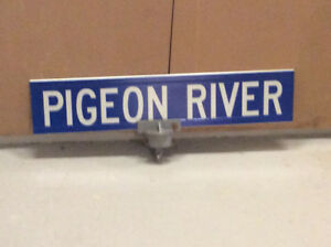 Vintage 2 sided PIGEON RIVER metal sign !