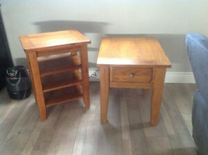 Solid wood set of end tables