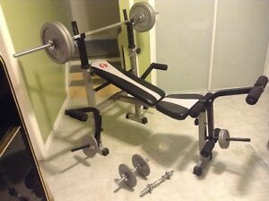 Bench press and dumbbell set with weights.