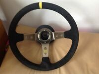 OMP Steering Wheel with BMW e36 BOSS Kit connector MOMO Sparco
