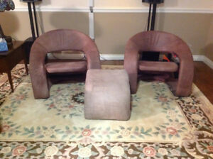 2 chairs and footstool bought at Mobler