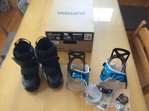 Used once Burton Grom bindings and boots
