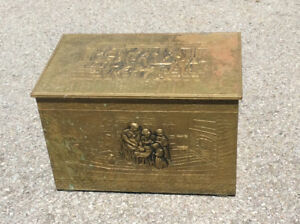 VINTAGE BRASS COVERED DECORATIVE WOOD BOX