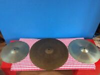 Set Of 3 Vintage Cymbals In Gig Case