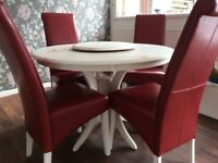 ROUND DINING TABLE AND 4 RED LEATHER CHAIRS shabby chic £100
