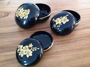 Set of Three Fine Thai lacquered Gold-painted boxes