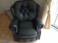 Dark green leather reclining chair