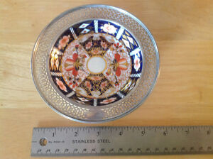 "ANTIQUE ROYAL CROWN DERBY ""IMARI"" #2451 BONE CHINA/STERLING DISH"