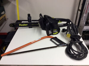 Tronçonneuse (chain saw) électrique et scie à la main