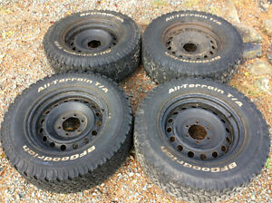 Set of 4 17inch steel rims and tires to fit Toyota truck