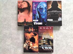 Cinq films VHS (xcellents films anglais et francais) pour $5.00