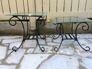 Wrought iron and glass tables
