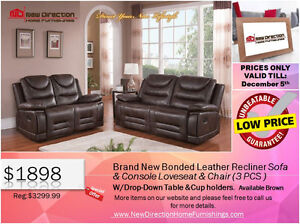◆Brand New 3PCS High Grade Bonded Leather Recliner Set@NEWD