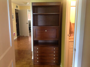 Attractive walnut finished bookcase