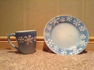 Christmas Snowflake matching plate and coffee cup