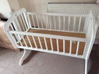 Mothercare swinging white crib up to around 6 months
