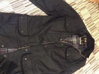 Barbour black waxed jacket size 8
