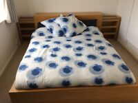 IKEA malm double bed in oak with mattress and headboard