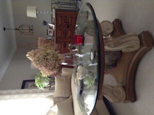 Large round 3/4 inch bevelled glass coffee table