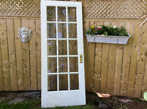 Old solid wood French door
