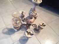 "Lustre/chandeliers avec 5 globe en verre "" CAPO DI MONTE"