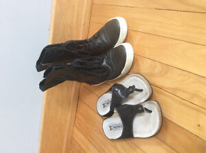 Mephisto sandals and Steve Madden leather high tops