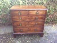 Vintage Georgian Mahogany Chest Of Three long and Two short drawers