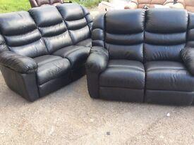 LAZY-BOY black leather 3 + 2 seater sofa ex display model