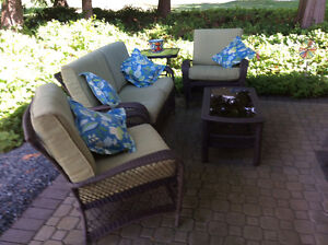 Wicker style outside love seat and chairs set