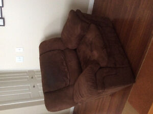 Brown suede reclining chair