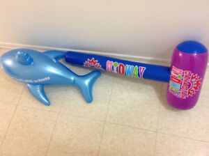 2 Inflatable toys hammer and shark bqqoth $10