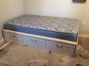 Twin Drawer Unit Bed and Mattress