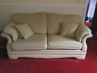 2x light yellow or gold 3 seater sofas - great condition - no pet or smoking home