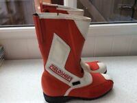 FIELDSHEER MOTORCYCLE BOOTS RED/WHITE ~ SIZE 10 & 11 (ODD SIZES)