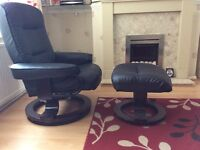 Reclining swivel chair & foot stool.