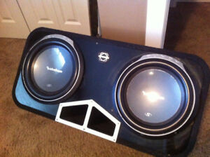 """2 like New 12"""" subs in ported Box with amp"""