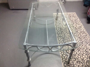 Glass and rod iron coffee table