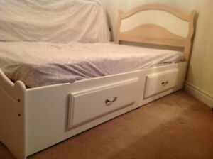 Twin Bed Frame with 2 Storage Drawers + Twin Mattress