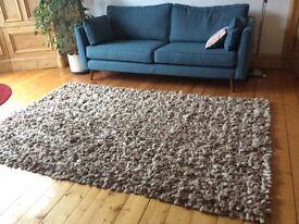 Large wool pile rug taupe, cream, pebble colour