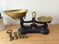 SOLD PENDING COLLECTION Librasco vintage iron & brass kitchen scales with weights and dishes