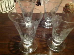 "Vintage ""Cornflower"" juice glasses (4)"