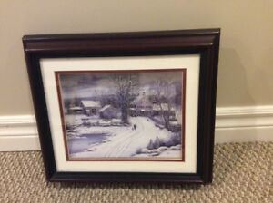 Cherry stained shadow box winter scene