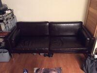 Ikea Brown Faux Leather Sofa