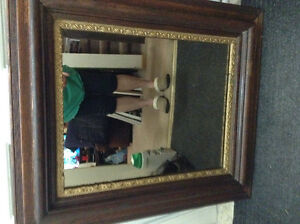 Antique Mirror Solid Wood. 28 1/2 by 24 1/2