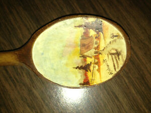 Painted wooden spoon with hook for sale