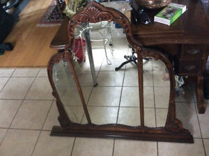 Antique carved walnut dresser/wall mirror with etchings!