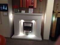 "Step 52"" Complete Fireplace In Arctic White Micromarble With Lights"