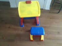 4 toys, small desk and chair